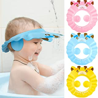 3 Pieces Baby Shower Cap Adjustable Baby Bath Visor Infant Bathing Protection Cap Safe Shampoo Shower Hat with Ear Protect...