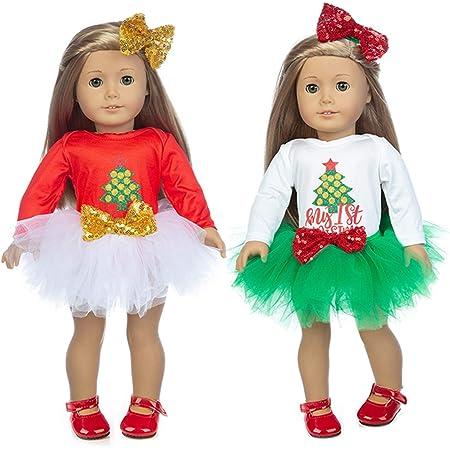 Rainbow Tutu Dress TianBo 18 Doll Clothes Christmas Deer Costume Tutu Dress fits 18 Inch American Girl Doll,My Life Doll Headwear, ZK02-Christmas Tree t-Shirt