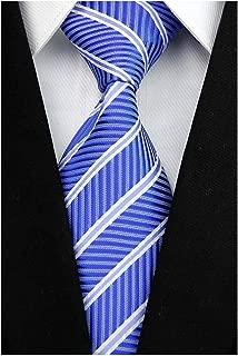 Veegood Men's Classic Ties For Men Jacquard Woven Silk Tie Plaid Striped Necktie for Men Party Suit