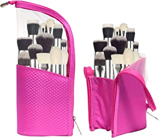 Waterproof Cosmetic bag Travel Make up Brush Cup Holder Organizer Bag, Stand Pencil Pen Case pen holder for Sketch, Portable Stand-Up Toiletry Stationery Bag with Divider (Pink)