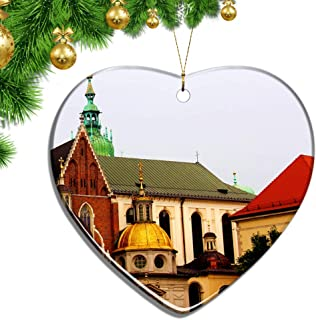 Hqiyaols Ornament Poland Wawel Royal Castle Krakow Christmas Ornaments Ceramic Sheet Souvenir City Travel Pendant Gift Tree Door Window Ceiling Decoration Collection