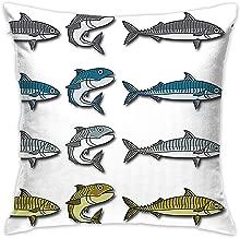 BINGZHAO Mackerel Vector Cartoon Illustration 18 X 18 Inch Cushion Cover Throw Pillowcase for Couch