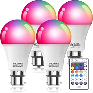 Smart WiFi Light Bulb with Remote, Compatible with Alexa Google Home, B22 Bayonet 10W 800LM Dimmable Warm Light and Multic...