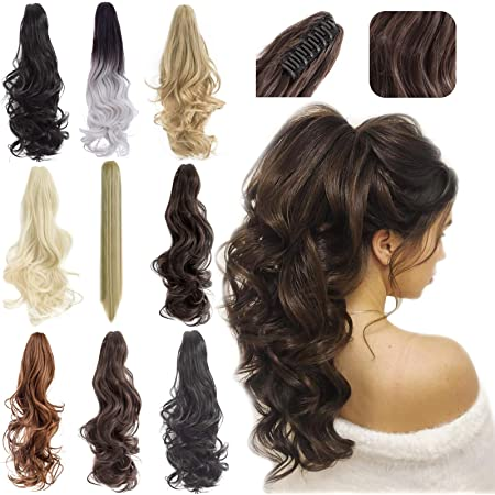 """Felendy Ponytail Extension Claw 18"""" 20"""" Curly Wavy Straight Clip in Hairpiece One Piece A Jaw Long Pony Tails for Women Light Auburn"""