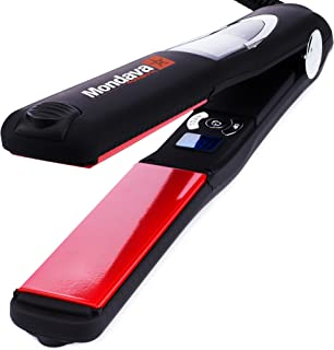 MONDAVA PROFESSIONAL Ceramic Tourmaline Hair Straightener Flat Iron and Curler, Ionic Dual Voltage Adjustable Digital LED Technology, Straighten and Style Wild Hair in 8 Min, Perfect For All Types, 1""
