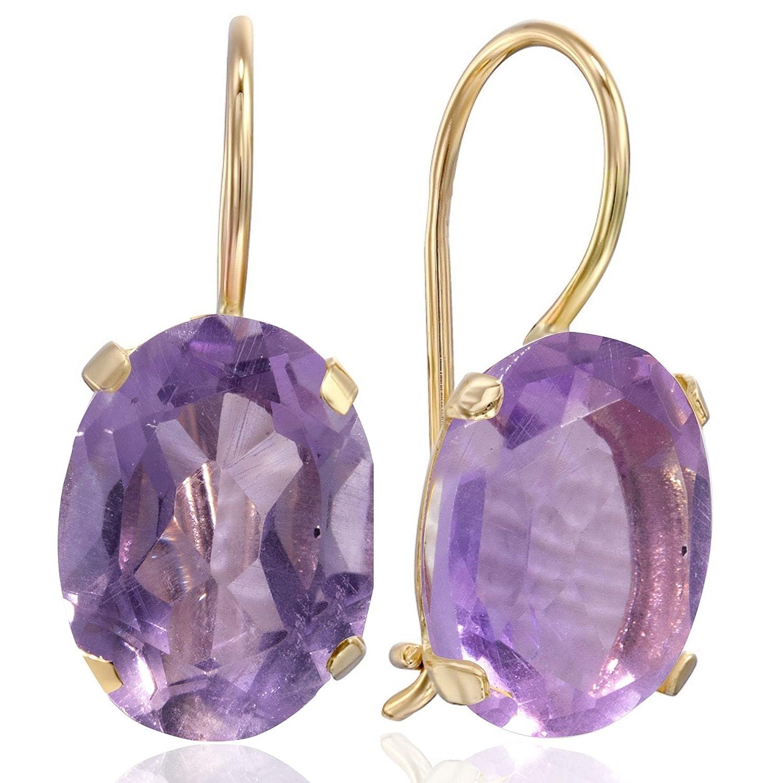 14K Gold Amethyst Earrings - Classic Dainty Yellow Dangle Solid Super sale