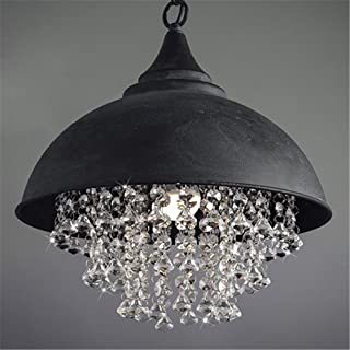 Industrial Ceiling Light, SUN RUN Creative Iron Shaded with Glittering Crystal Chandelier Vintage Metal Pendant Lamp for Dining Room Kitchen, 1-Light Fixture Using E26 Bulb, Black