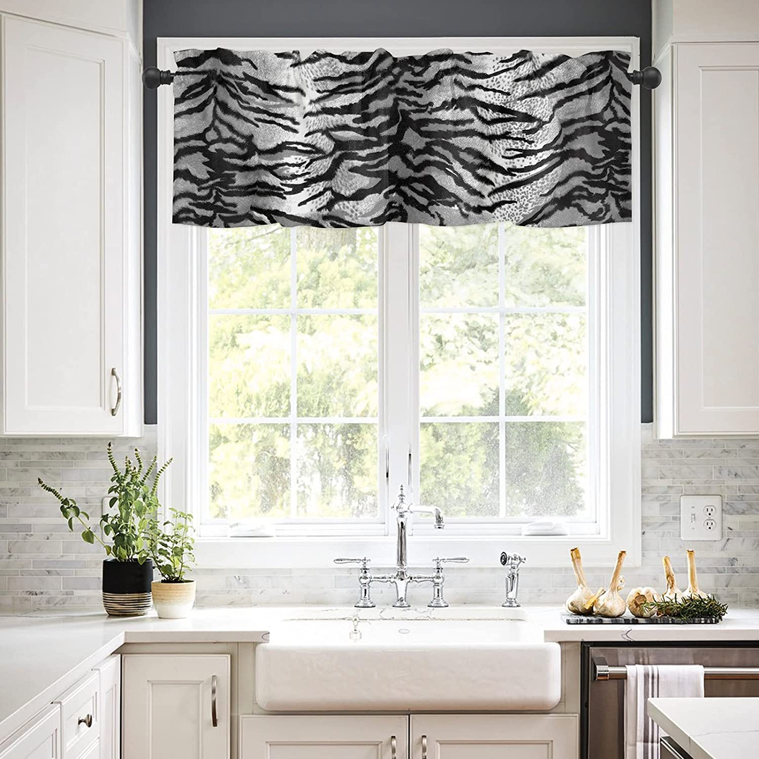 Rod Pocket Window Boston Mall Valances Curtains Product Animal Black and Kitchen for