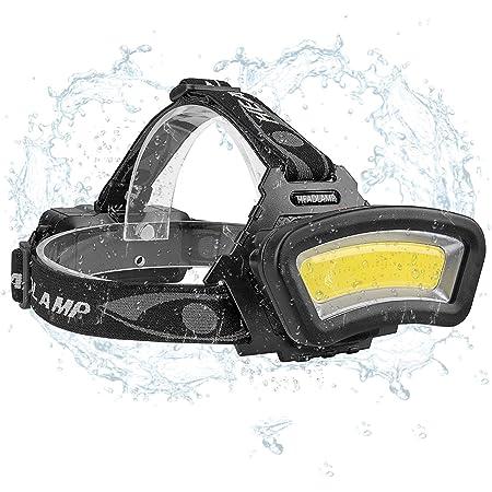 Linterna Frontal COB lámpara,Eletorot Lúmenes Linterna Cabeza con 4 modos de iluminación Impermeable USB Recargable para Camping Excursión Pesca ...