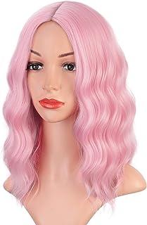 Earfodo Light Pink Wig For Women ShortCurlyWavy Bob Wig 14 Inch Shoulder Length Middle Part Pastel Pink Wig Heat Resista...