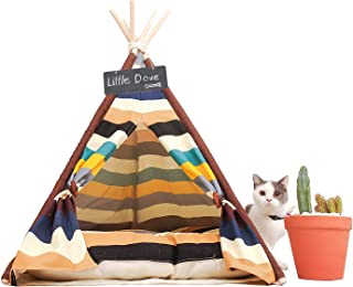 little dove Pet Teepee Dog(Puppy) & Cat Bed - Portable Pet Tents & Houses for Dog(Puppy) & Cat Colorful Style 24 Inch (with or Without Optional Cushion)