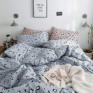 DSHRTY Costume Quatre pièces,Ensemble de literie Section de lit en Pur Coton Neutre Style Simple, Drap de lit à Motif en Q...