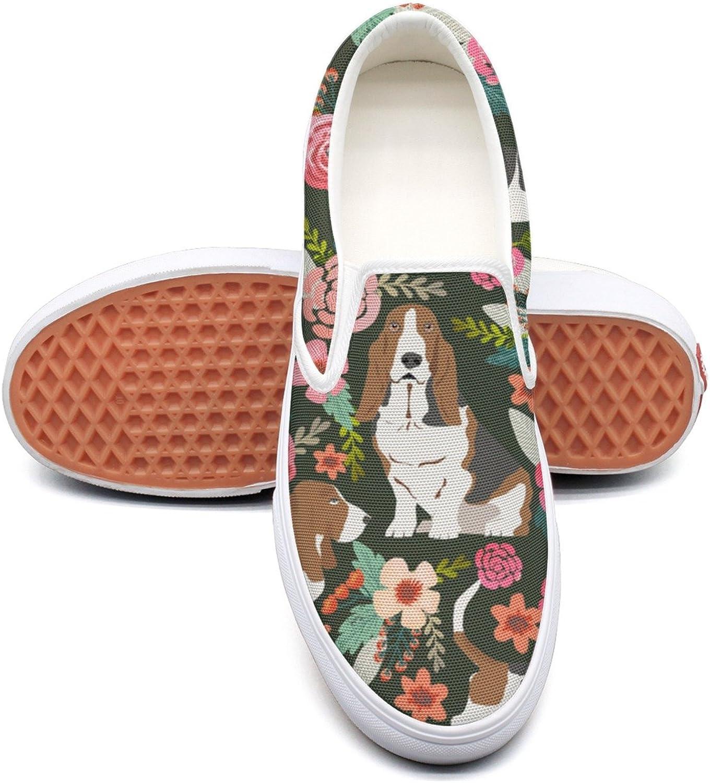 Hjkggd fgfds Casual Vintage Basset Hound Floral Dog Women's Canvas shoes