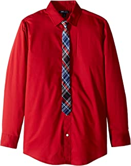 Stretch Solid Shirt w/ Tie (Big Kids)