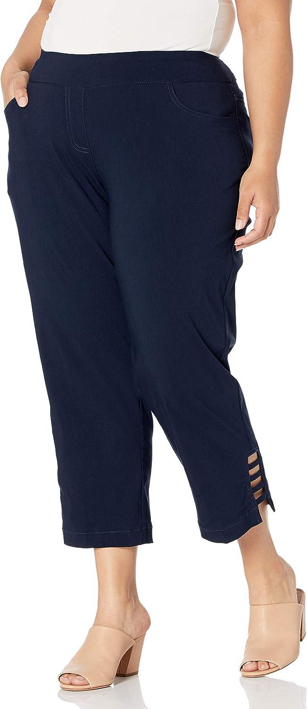 SLIM-SATION Women's Plus Size Solid Crop Pant