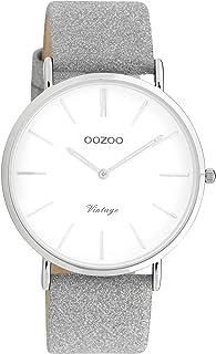 Oozoo Montre-bracelet vintage avec bracelet en cuir à paillettes de 40 mm de diamètre