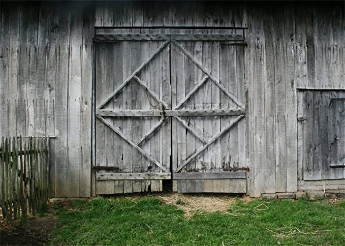 New Vinyl 7X5FT Old Barn Backdrop Straw Haystack Backdrops Vintage Turkey Farm Rustic Wooden Plank Interior West Cowboy Photography Background for Kentucky Derby Party Photo Studio Props 557