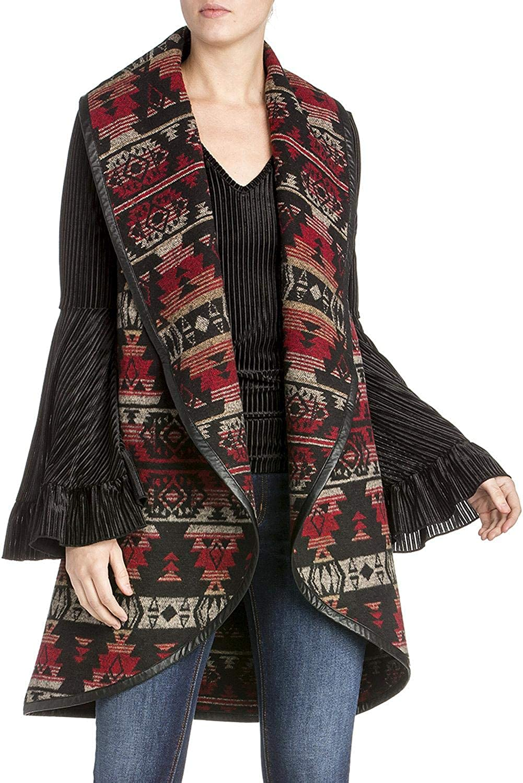 Miss Me SMJ1018T Multi Red Tribal Print Wrap Collar Vest