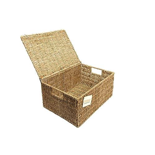 Vintage Canvas Kitchen Livingroom Storage Basket Box With Handles