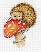 """KLART Embroidery Kit - Cute Animals Cross Stitch Kits for Beginners and Adults - Counted 5"""" x 6.25"""", 12.5 x 16cm - DIY Cross Stich Kit - Fun Needlework Pattern (Hedgehog on a Toadstool)"""