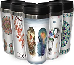 Feathers Stainless Steel and Acrylic Double Wall Insulated Travel Tumbler with Slide Lock Lid - Travel Mug Coffee Tumbler ...