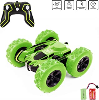 Remote Control Car Rc 4WD Off Road Double Sided Flips 360°Rotation Racing Vehicle, Rechargeable 2.4GHz High Speed 7.5Mph Toy Car for Kids, Battery Included