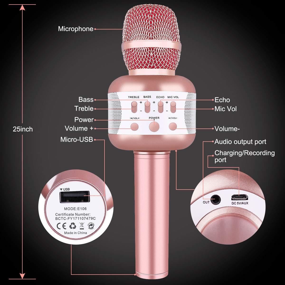 Micrófono Inalámbrico Bluetooth, Leeron Micrófono Portátil Karaoke ...