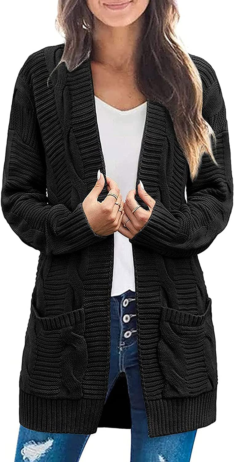 Womens Open Front Solid Color Long Sleeve Knitted Cardigan Sweaters Casual Winter Outwear Coat With Pockets
