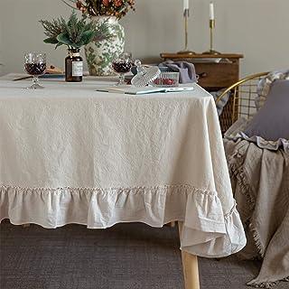 Glory Season Retro Farmhouse Ruffle Tablecloth Cotton Flounces Trim Washable Dining Table Cover For Rectangle Table Baby S...