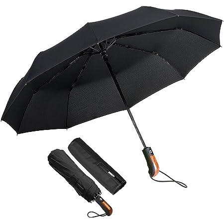 Conçu en Grande-Bretagne Balios ® Voyage Parapluie — Bois Véritable Poignée — Auto Open /& Double