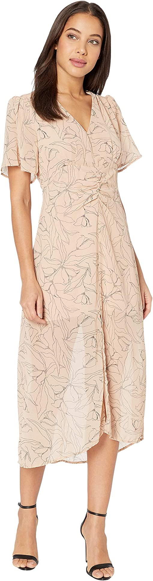 Apricot/Black Sketch Floral