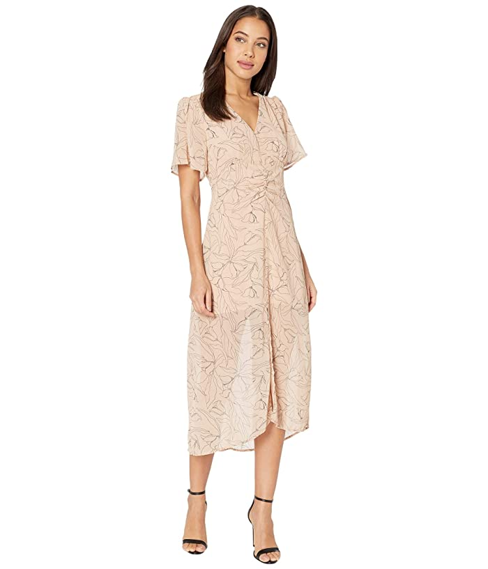 ASTR the Label  Kindred Dress (Apricot/Black Sketch Floral) Womens Clothing