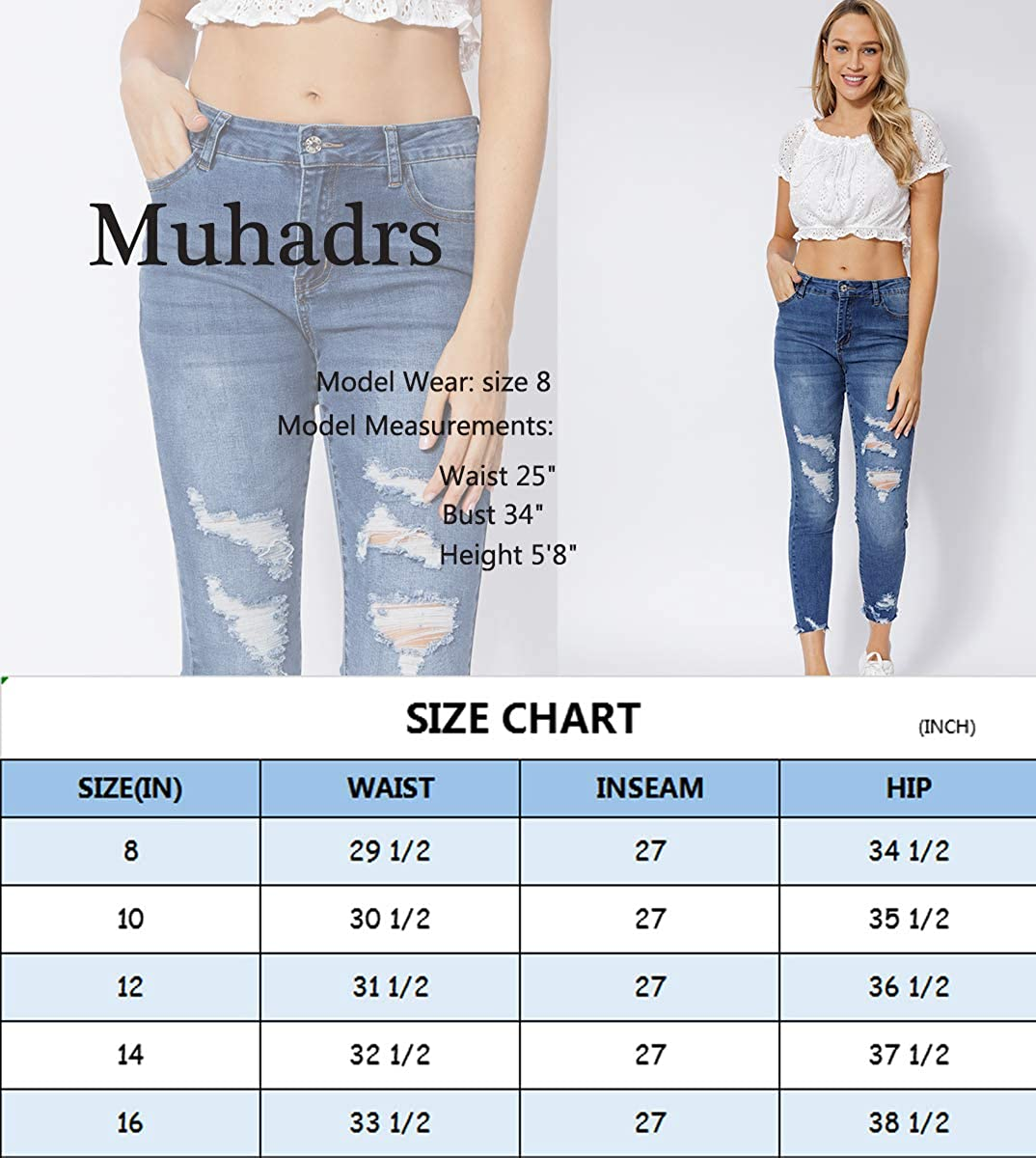 Muhadrs Womens Stretch Skinny Ripped Distressed Jeans Classic Destroyed Hole Jeans