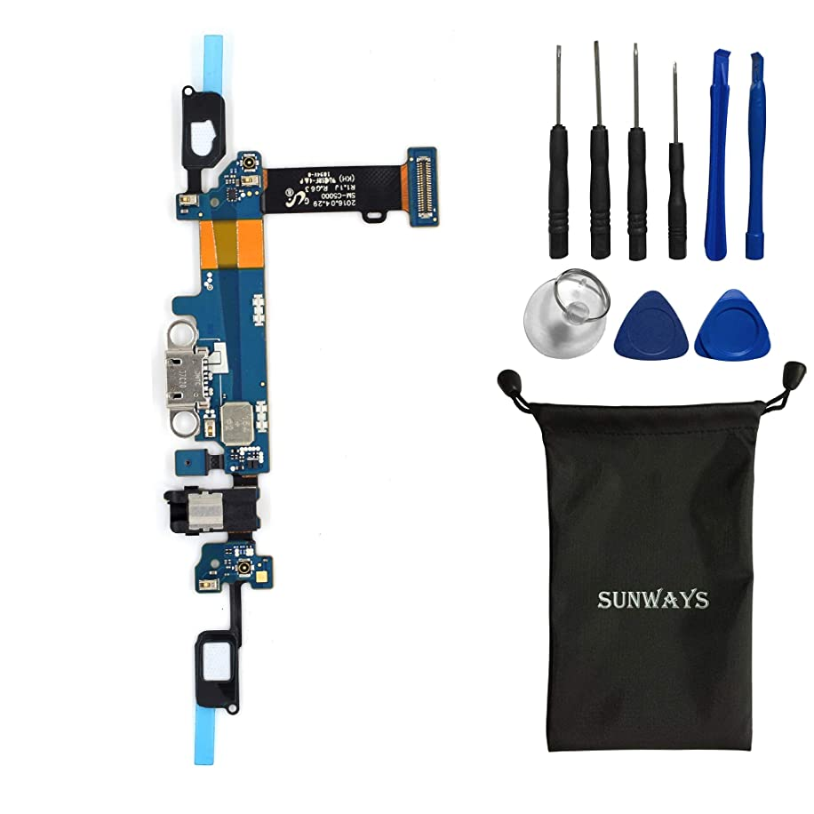 sunway Cell Phone Replacement Part for Samsung Galaxy C5 C5000 Charging Port Plug Flex Cable + Earphone Jack + Microphone + Sensor Flex Cable