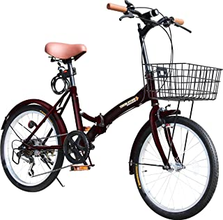 折りたたみ自転車 20インチ P-008 カゴ・フロントLEDライト・ワイヤーロック錠付き シマノ6段変速ギア 折り畳み自転車 小径車 ミニベロ PL保険加入
