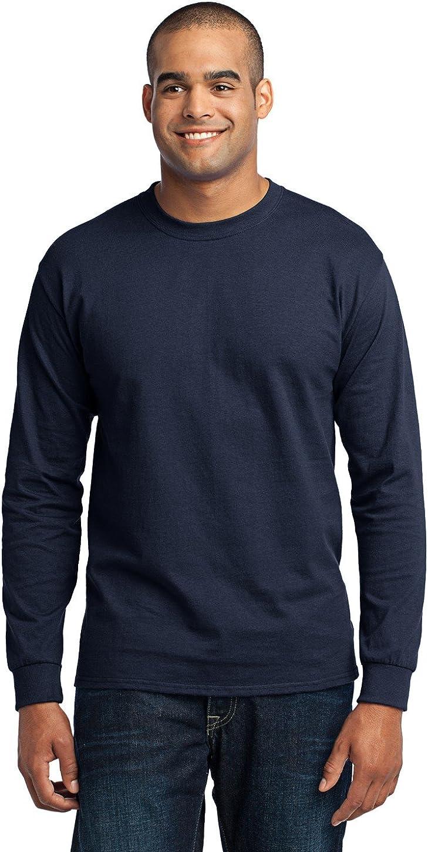 Port & Company Men's Tall Long Sleeve 50/50 Cotton/Poly T Shirt 3XLT Navy