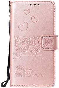 Reevermap Samsung Galaxy M30 Phone Case Leather  Flip Shockproof Wallet Embossed Owls Notebook Kickstand Magnetic Buckle Cover for Samsung Galaxy M30  Rose Gold