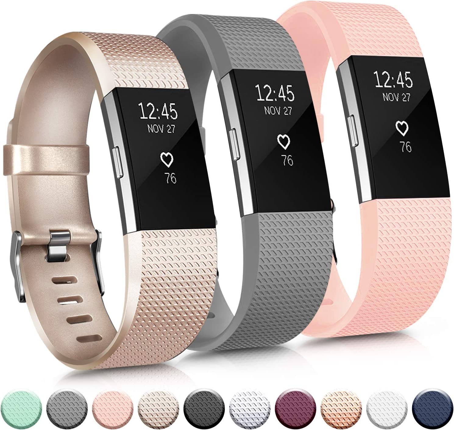 IEOVIEE Silicone Band Compatible with Fitbit Charge 2 Bands, Classic & Special Edition Soft Replacement Bands for Women Men Small Large (Small, 07 Gold+Grey+Pink)