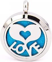 DEHEOBI Plain Love (30mm) Difusor de Acero Inoxidable Medallón Collar Imán Perfume Aceite Esencial Olor Locket Gargantilla