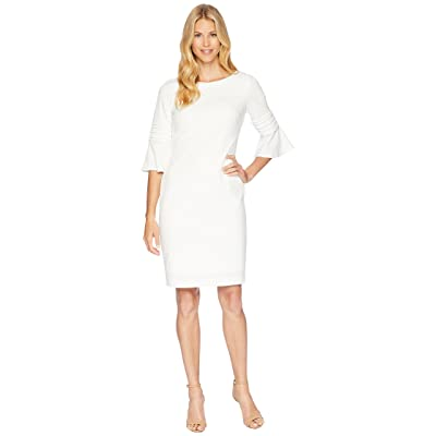 Calvin Klein Bell Sleeve Dress with Embroidery Detail CD8C19MF64 (White) Women