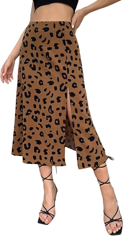 Milumia Women's Casual Leopard Print Slit Skirt High Waist A Line Midi Skirt