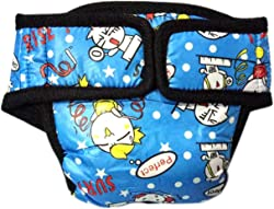 Cartoon Reusable Male Dogs Diapers Washable Waterproof Breathable Diapers Pet Dog Pant Stylish Sanitary Nappy Diaper(Blue&M)