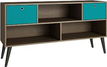 BRV Móveis MDP 15mm/Wood Feet/Plastic Handle/Melamine Finishing TV Stand Two Drawers, BPP 31-134, Oak with Aquamarine, H69...