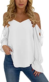 Womens Sexy Long Sleeve Spaghetti Strap Cold Shoulder Tops and Blouse