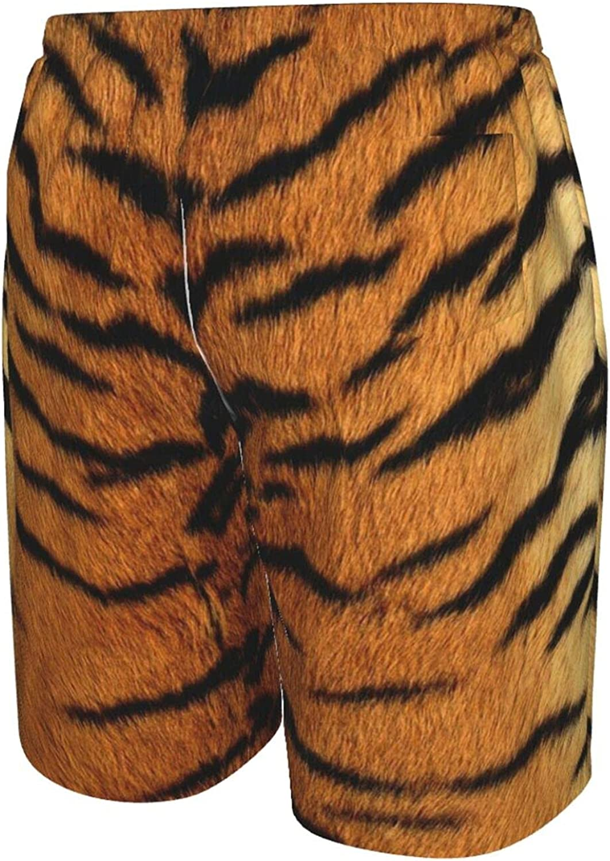 JINJUELS Mens Bathing Suits Tiger Print Swim Boardshorts Drawstring Elastic Summer Beach Shorts with Liner
