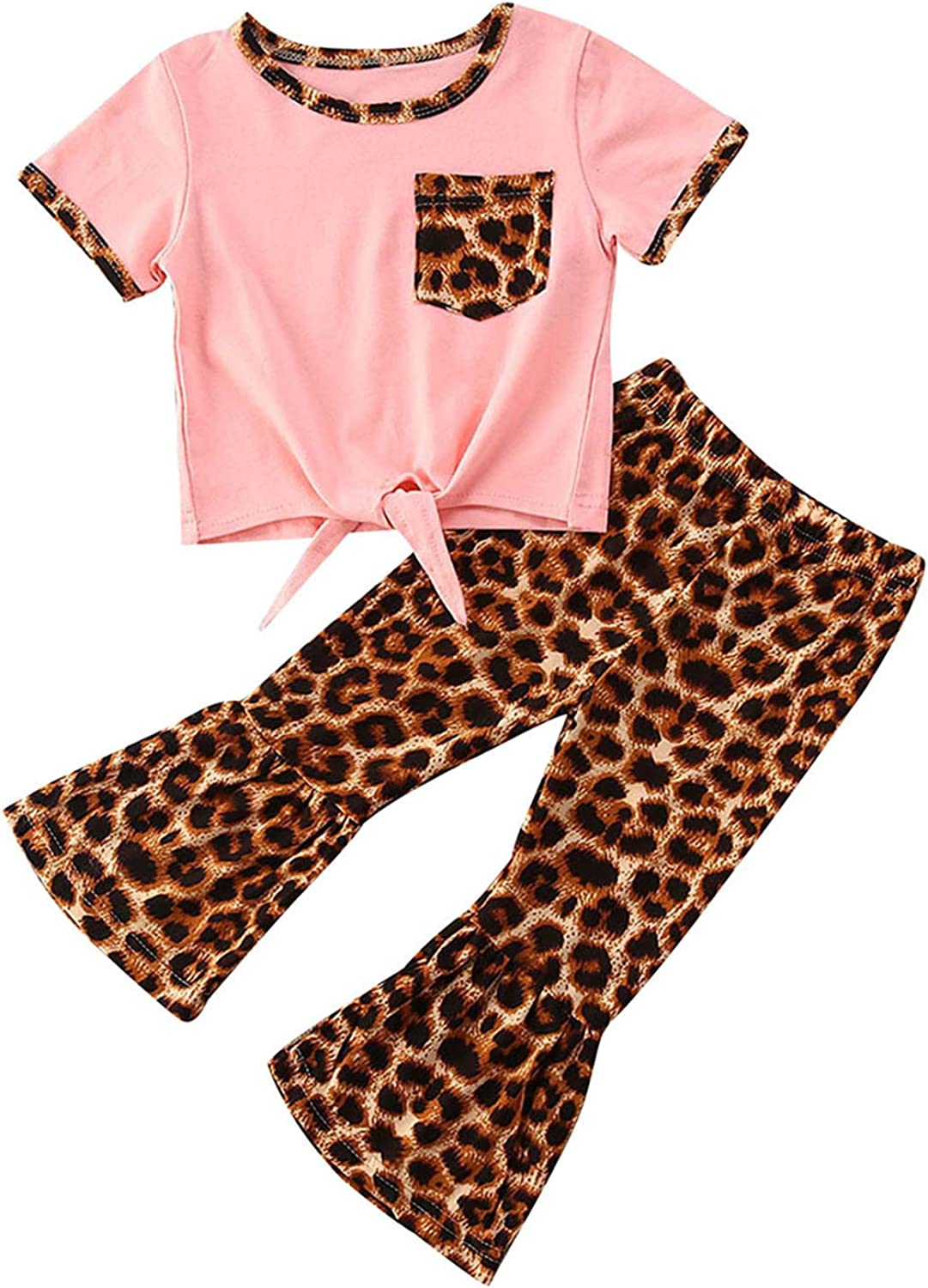Baby Girls Flared Pants Outfit Crop Denver Mall Tops Shoulder Bargain sale Ruffle Off