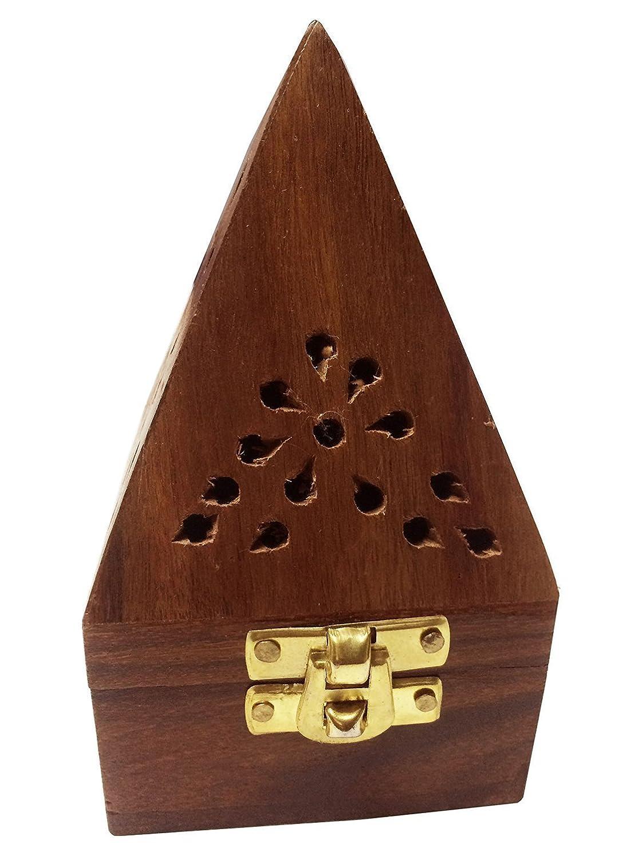 スキーム構造的不和Wooden Classic Pyramid Style Burner (Dhoop Holder) With Base Square and top Cone Shape,Wooden Incense Burner Box
