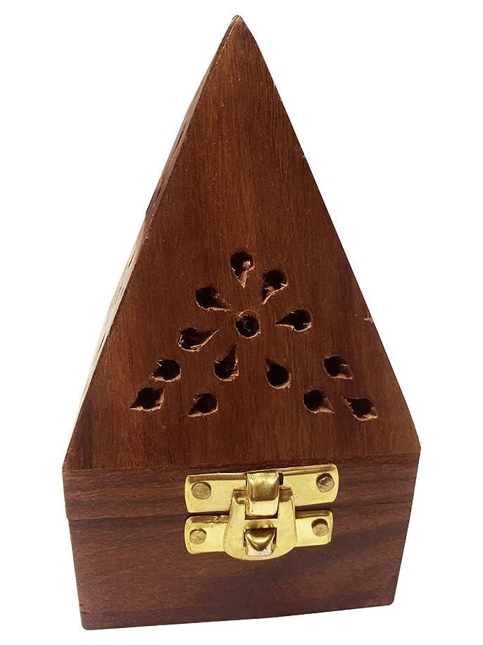 仕事に行くネックレットバイオリンWooden Classic Pyramid Style Burner (Dhoop Holder) With Base Square and top Cone Shape,Wooden Incense Burner Box