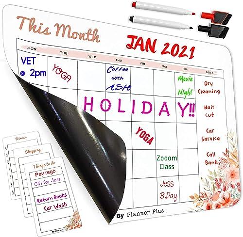 Magnetic Dry Erase Calendar for Refrigerator by Planner Plus, Magnetic Calendar Monthly Planner Calendar Whiteboard, ...