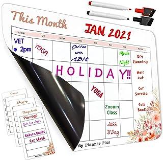 Magnetic Dry Erase Calendar for Refrigerator by Planner Plus, Magnetic Calendar Monthly Planner Calendar Whiteboard, 1 x L...